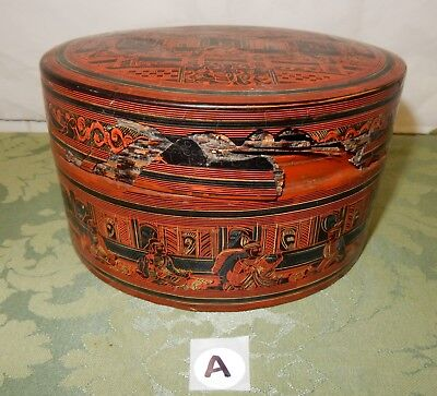 Vintage Oriental Chinese / Burmese Ornately Decorated Food Box (A)
