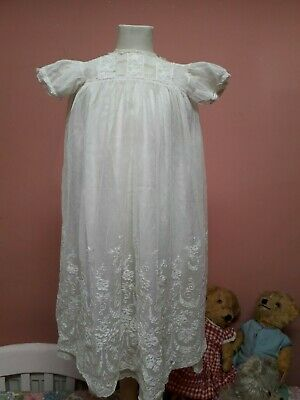 VINTAGE 1930s BABY DRESS TULLE EMBROIDERY LACE NET SILK PETTICOAT ANTIQUE DOLL