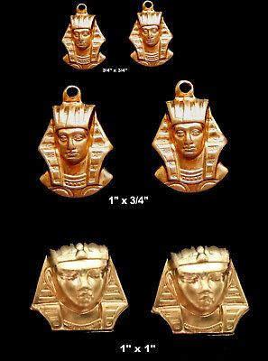Vintage Brass Stampings Egyptian Revival/ King Tut Mask- 3 Styles -  One Pair