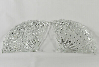 Pair of Vintage FAN Shaped Cut Glass Crystal TRAYs - Beautiful !