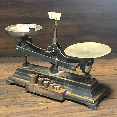 Antique Pharmacy Apothecary  Henry Troemner BALANCE SCALE w Weights ~ Cast Iron