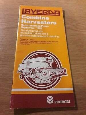 Laverda Combine Harvesters September 1983 Recommended Price List Vgc