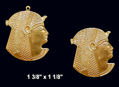 Vintage Brass Stampings Egyptian Revival/ Cleopatra  - Flat