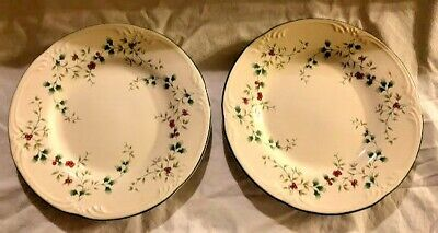 """2 Pfaltzgraff Winterberry Salad Plate 8"""" Christmas Holiday Holly"""