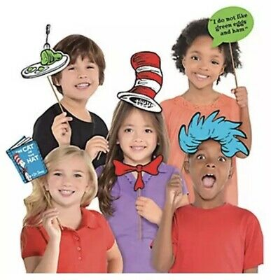 Dr Seuss Cat In The Hat Photo Booth Props 13pcs Book Birthday