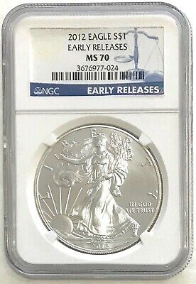 2012 US American Silver Eagle, Early Release, NGC Slab MS 70