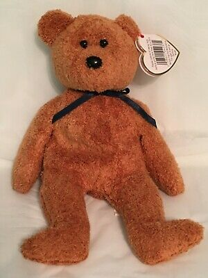 TY Beanie Baby - FUZZ the Brown Teddy Bear - Pristine with Mint Tags - RETIRED