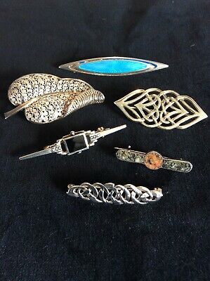 MIXED LOT x 6 ANTIQUE SILVER 925 BROOCHES AJS KIT HEATH SCOTTISH CELTIC KNOT ETC