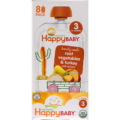 Happybaby Hearty Meals, Stage 3, Organic Baby Food, Root Veg & Turkey 4Oz. -8Pk