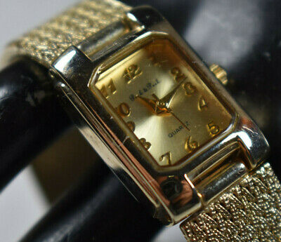 Vintage! Peck & Peck Gold Tone Women's Bangle Watch w/ Square Dial NEW BATTERY!