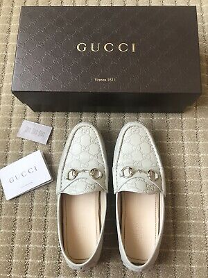 a9869012e13b Authentic GUCCI Women s White Leather GG Print Horsebit Loafer Flat Size 37  ...