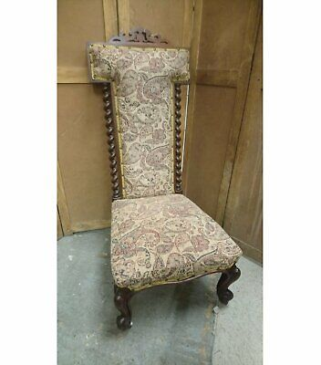 Antique early Victorian high back prie dieu chair with knurl feet