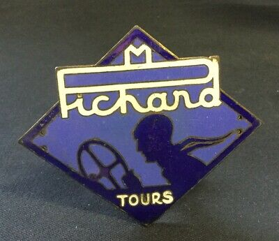 Tres RARE Badge 1920-1930  CITROËN Agent PICHARD Tours !! Pilote Art Deco