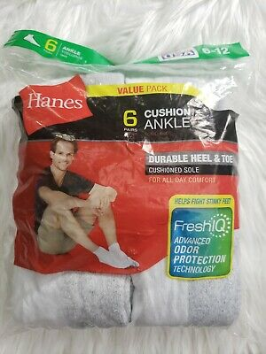 Hanes Mens Cushion Ankle Socks Shoe Size 6-12 L 6-Pair Value Pack New