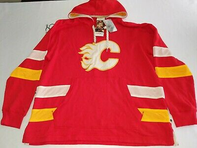 check out bc0f2 0987d CALGARY FLAMES CCM 2XL Red Embroidered Sweatshirt - Lace Em Up Hoodie BNWT  $95