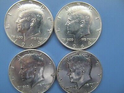 1964 Kennedy Half Dollars Lot Of 4 Coins 90% Silver
