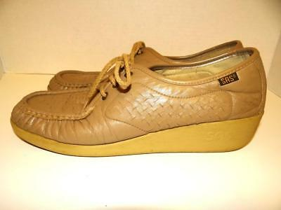 9e0c85ba58 SAS Bounce Womens Lace Up Moccasins Beige Brown Perforated Leather Size 10 N
