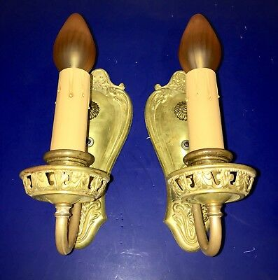 Wired Pair Antique Raw Brass Wall Fixtures Sconces 24C