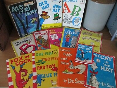 13x OLD Kids BOOKS Dr. Seuss ABC Fox in Socks Green Eggs Cat in the Hat One Fish