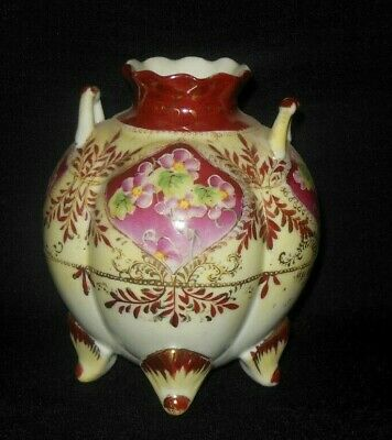 Antique 4 Footed Hand Painted Vase Light Mauve Wild Roses