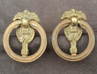 Pair Vintage Antique Deco Brass Drawer Cabinet Furniture Drop Ring Pull Handle