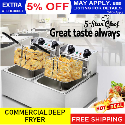 NEW Commercial Deep Fryer Double Stainless Steel Electric Benchtop Cooker Basket