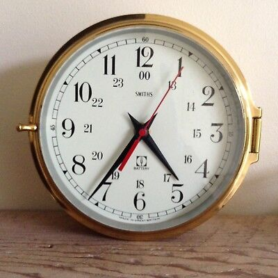 Vintage 1970's Smiths Brass Ship Nautical Porthole Clock Battery Operated Wow!!