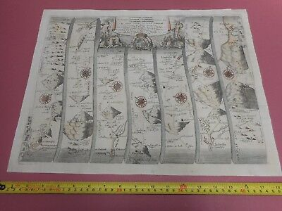 100% Original Large Caermarthen To Aberystwith Road Map By John Ogilby C1679