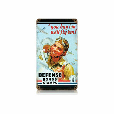 VINTAGE STYLE METAL SIGN Military Defense Bond Stamps 8 x 14