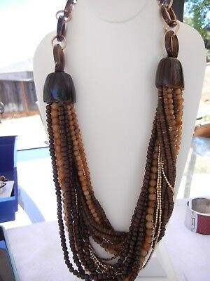 Chico's Necklace Massive 23 Strands Brown Gold Faux Tortoise shell Long