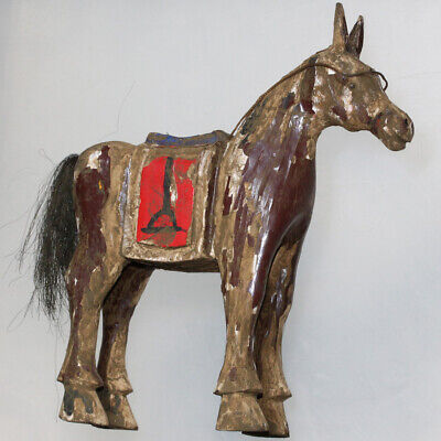 Unique Wooden Cowboy Horse Statue Ornament Or Toy - Extremely Rare !!!!!!!!