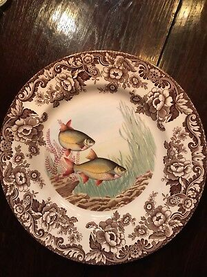 "Spode ""Woodland Stream"" Fish Dinner Plate, RUDD, 10 5/8"""