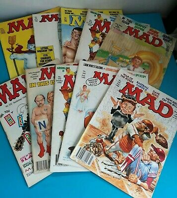 Collection of 10 Vintage Mad Magazines Mixed 1991 and 1994 GREMLINS NYPD NEW KID
