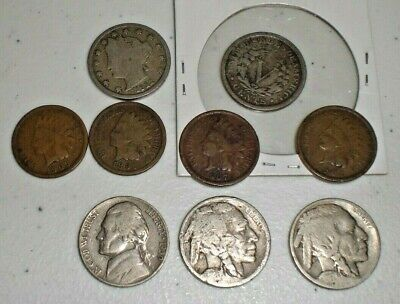 1909/1912 Liberty Head V Nickel 5 Cent/ WITH 4 INDIAN HEAD 1c,/2BUFFALA NICKELS