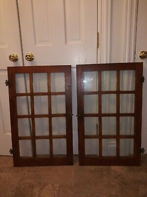 Pair antique craftsman oak  Vintage Cabinet Doors With Orginial Hardware 12 pane