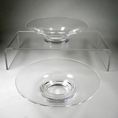 """PAIR of Steuben Crystal 7.5""""Low Bowls with Round Foot - Both Signed"""