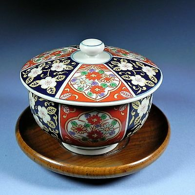 Antique 19th C Japanese Imari Covered Bowl on Wood Saucer Stand