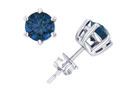 1.50Ct Round Blue Diamond Basket Stud Earrings 14k White Gold 6Prong Push Back