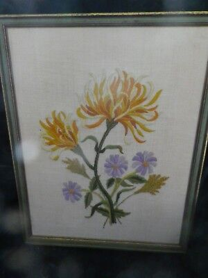 "Lovely 15""x19 1/2"" framed crewel  embroidered flowers green yellow & gold, blue."