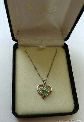 198599c19 Kay Jewelers 14K Gold And Sterling Silver Emerald Pendant Necklace 18