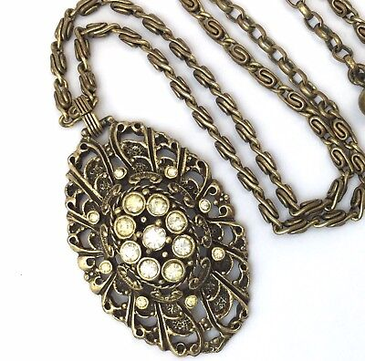 Vintage Necklace Clear Rhinestone Filigree Metal Pendant Victorian Revival
