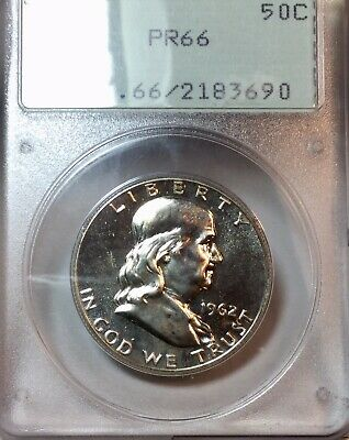 1962 50c Franklin Silver Proof Half Dollar PCGS Old Rattler Holder PR 66