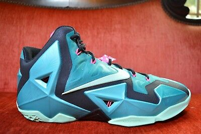 dfc768eb973 WORN 1X Nike LeBron 11 XI South Beach Sport Turquoise Mint 616175-330 Sz  11.5