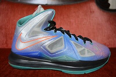 huge discount fbe7e 74558 Nike LeBron X 10 Re-Entry Pure Platinum Size 9.5 541100 008 Grey Blue Green