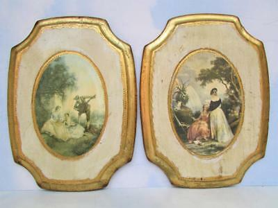 Two Florentine Curved Rectangular-Shaped Gold Gilded Picture Frames