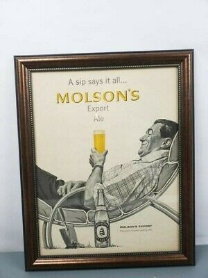 Vintage Molson Beer Advertisement - Picture & Frame - Excellent Condition