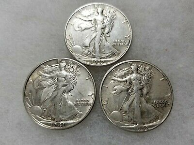 Lot of 3 WALKING LIBERTY HALF DOLLARS 90% SILVER (1937 P 1941 D 1942 P)