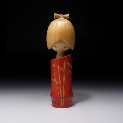 NH6: Vintage Japanese Wooden Woman Kokeshi Doll, Height 7.3 inches