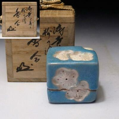 QK4: Japanese Incense Case, Kogo, Kyo ware with Signed wooden box, Plum Flower