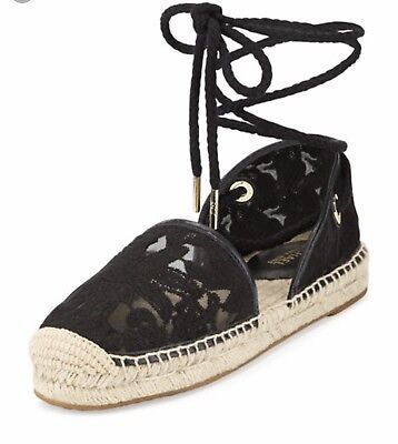 33b324b6582 MICHAEL MICHAEL KORS Margie Embroidered Ankle-Wrap Espadrilles Black Sold  Out**
